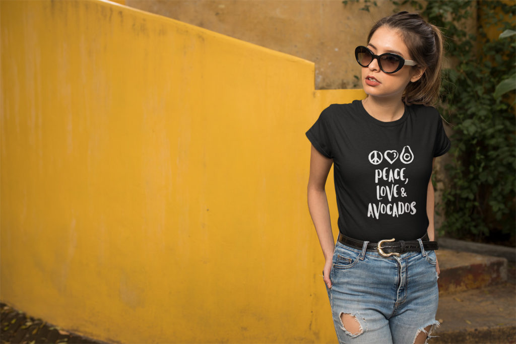 Avocadista Peace Love Avocados vegan plant based T-Shirt
