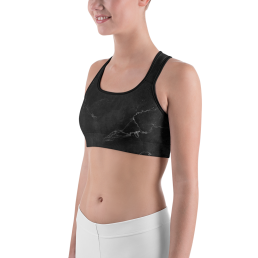 Black Marble Yoga Sports bra Active Wear Pilates