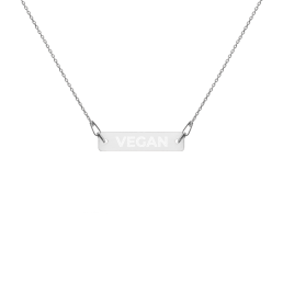 Avocadista Vegan Engraved Silver Bar Chain Necklace Schmuck Kette