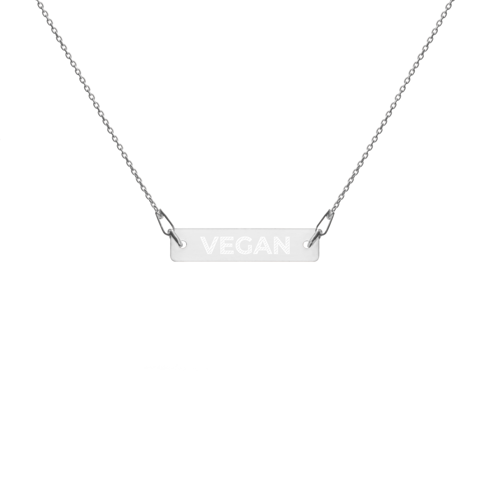 Avocadista Vegan Engraved Silver Bar Chain Necklace Schmuck Kette