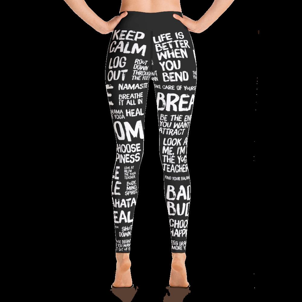 Avocadista Quotes Black Yoga Leggings Pants Active Wear Pilates