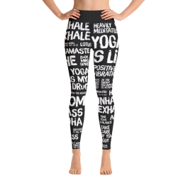 Avocadista Quotes Black Yoga Leggings Pants