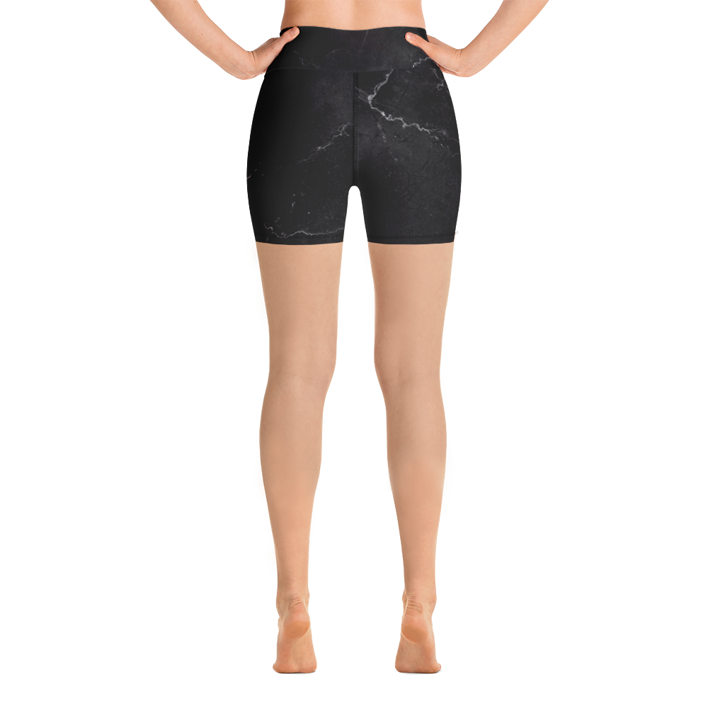 popular brand affordable price recognized brands Black Marble Yoga Shorts - avocadista