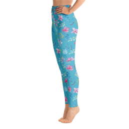 Avocadista Watercolor Flowers Yoga Leggings Pants Active Wear Pilates
