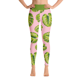 Avocadista Leafy Pink Yoga Leggings Pants Active Wear Pilates