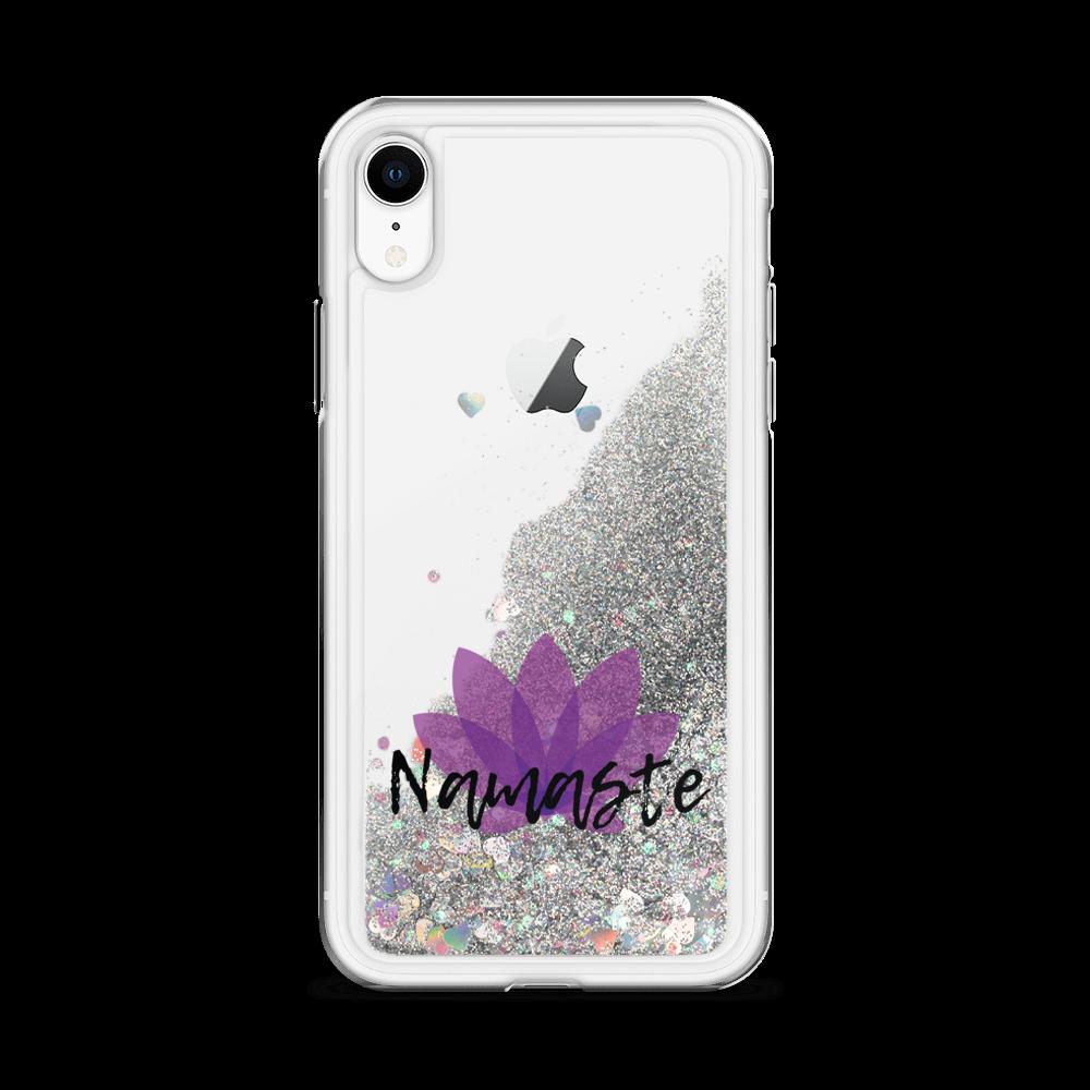 Avocadista Namaste Yoga Liquid Glitter iPhone Case