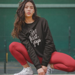 Avocadista But First Yoga Sweatshirt Pullover