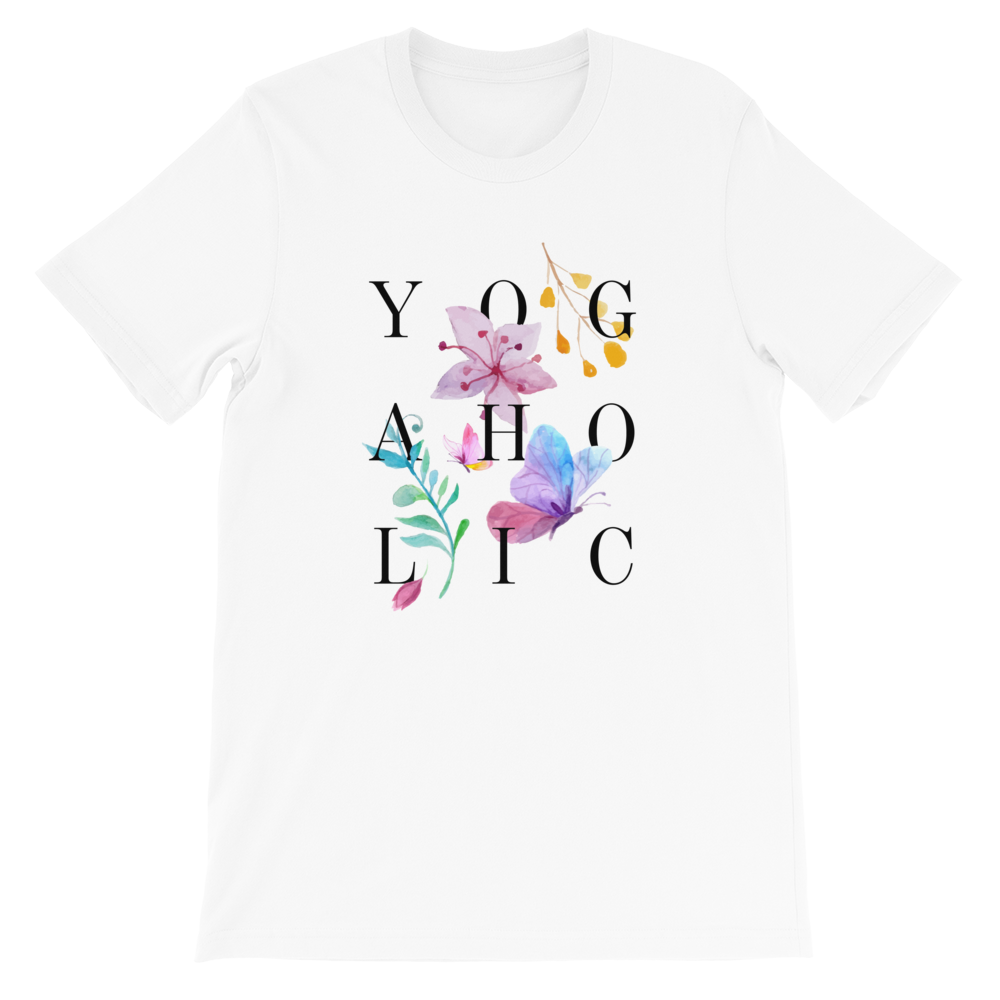 Avocadista Yogaholic Floral Flowers Yoga T-Shirt