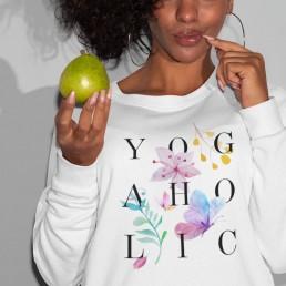 Avocadista Yogaholic Floral Yoga Sweatshirt Pullover