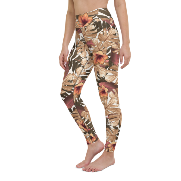 Orange Floral Yoga Leggings Pants Active Wear Pilates
