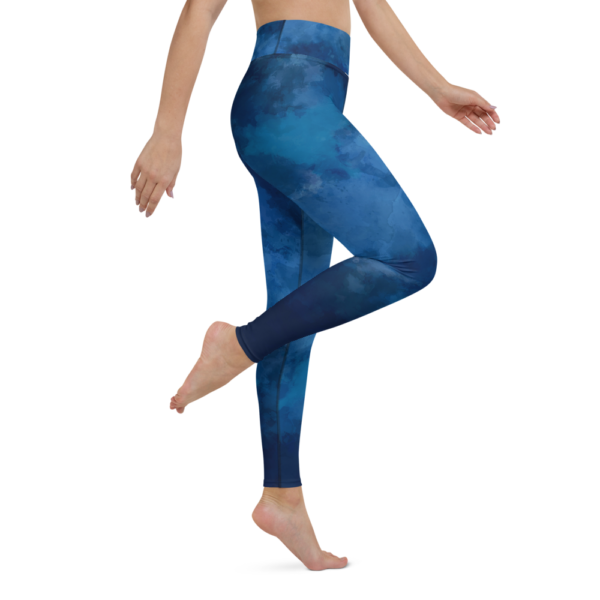 Watercolor Deep Blue Yoga Leggings Tights Pants Active Wear Pilates