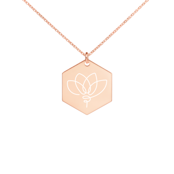 Avocadista Lotus Hexagon Engraved Necklace Jewelry Kette Schmuck