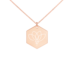 Lotus Hexagon Engraved Necklace Jewelry Kette Schmuck