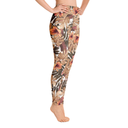 Avocadista Orange Floral Yoga Leggings Pants Active Wear Pilates