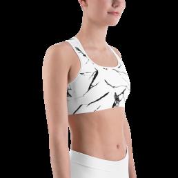 Avocadista White Marble Sports Bra Active Wear Pilates