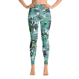 Avocadista Green Floral Yoga Leggings Pants Active Wear Pilates