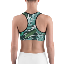 Avocadista Green Floral Yoga Sports Bra Active Wear Pilates