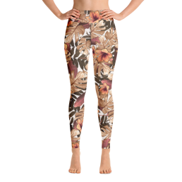 Avocadista Orange Floral Yoga Leggings Pants Active Wear Pilates