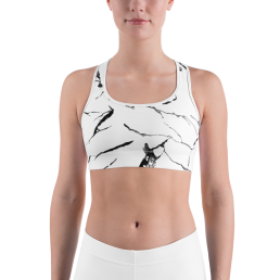 Avocadista White Marble Sports Bra Active Wear Pilates