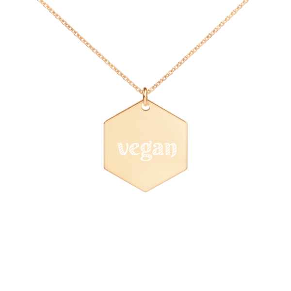 Avocadista vegan Hexagon Engraved Necklace Jewelry Kette Schmuck
