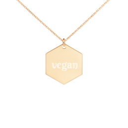 vegan Hexagon Engraved Necklace Jewelry Kette Schmuck