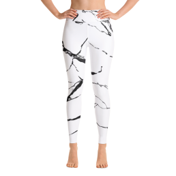 Avocadista White Marble Yoga Leggings Pants Active Wear Pilates