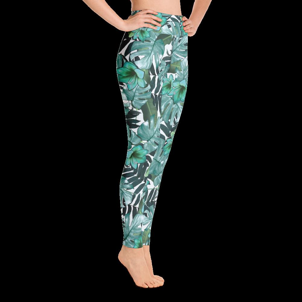 Avocadista Green Floral Yoga Leggings Pants Active Wear Pilates