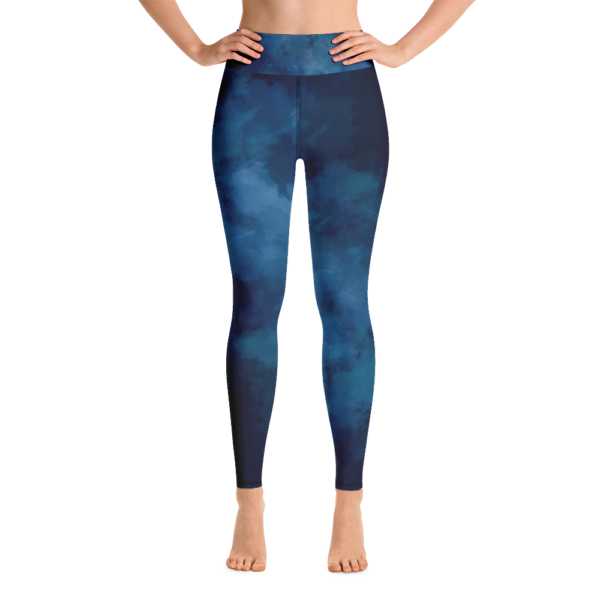 Avocadista Watercolor Deep Blue Yoga Leggings Pants Active Wear Pilates