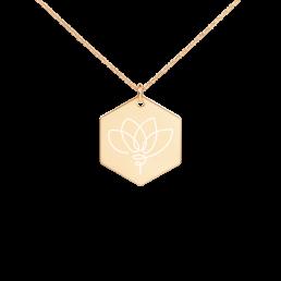 Avocadista Lotus Hexagon Engraved Necklace Jewelry Kette Schmuck