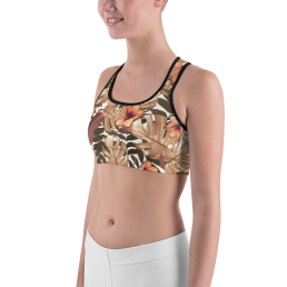 Avocadista Orange Floral Yoga Sports Bra Active Wear Pilates