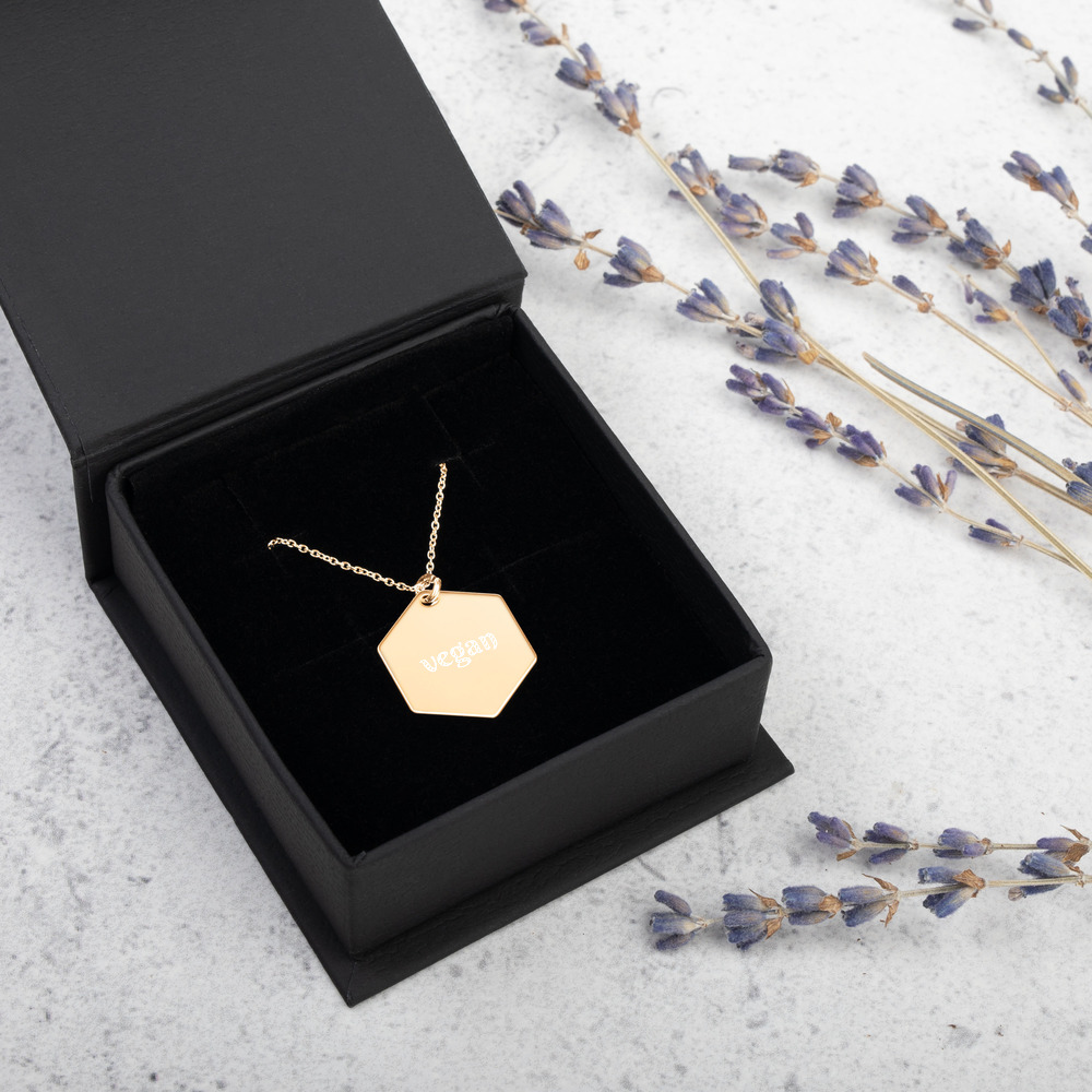 Avocadista vegan Hexagon Engraved Necklace Jewelry Kette Schmuck