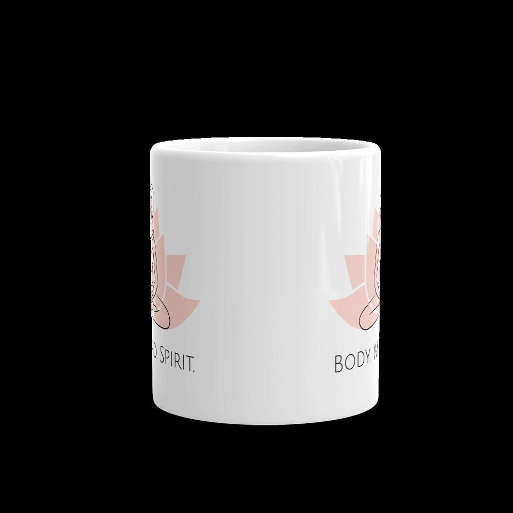 Yoga Body Mind Spirit glossy mug