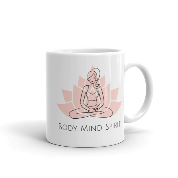 Yoga Body Mind Spirit glossy mug