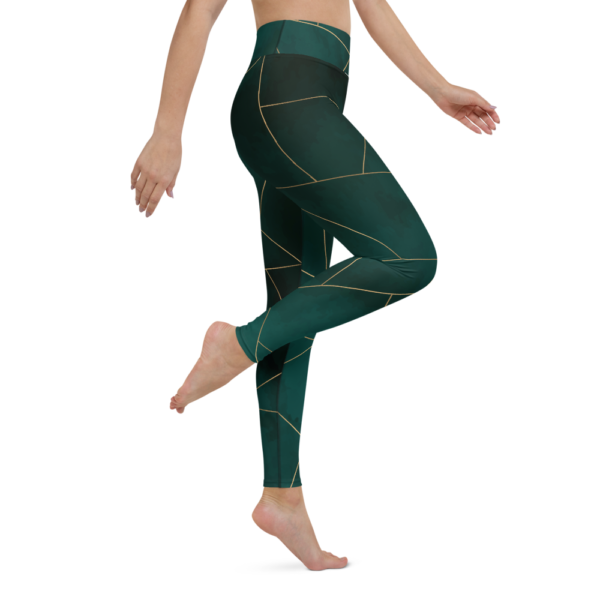 Green Mosaic Yoga Leggings Pants Active Wear Pilates
