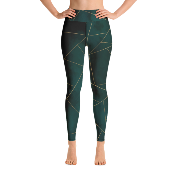 Green Mosaic Yoga Leggings Tights Pants Active Wear Pilates