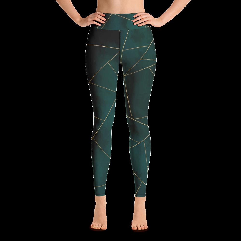 Green Mosaic Yoga Leggings Tights Pants Active Wear Pilates