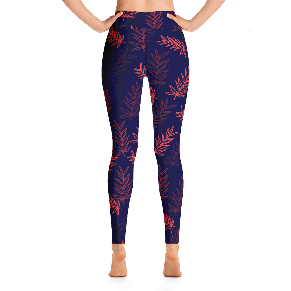 Palm Leaf Yoga Leggings Pants active Wear Pilates