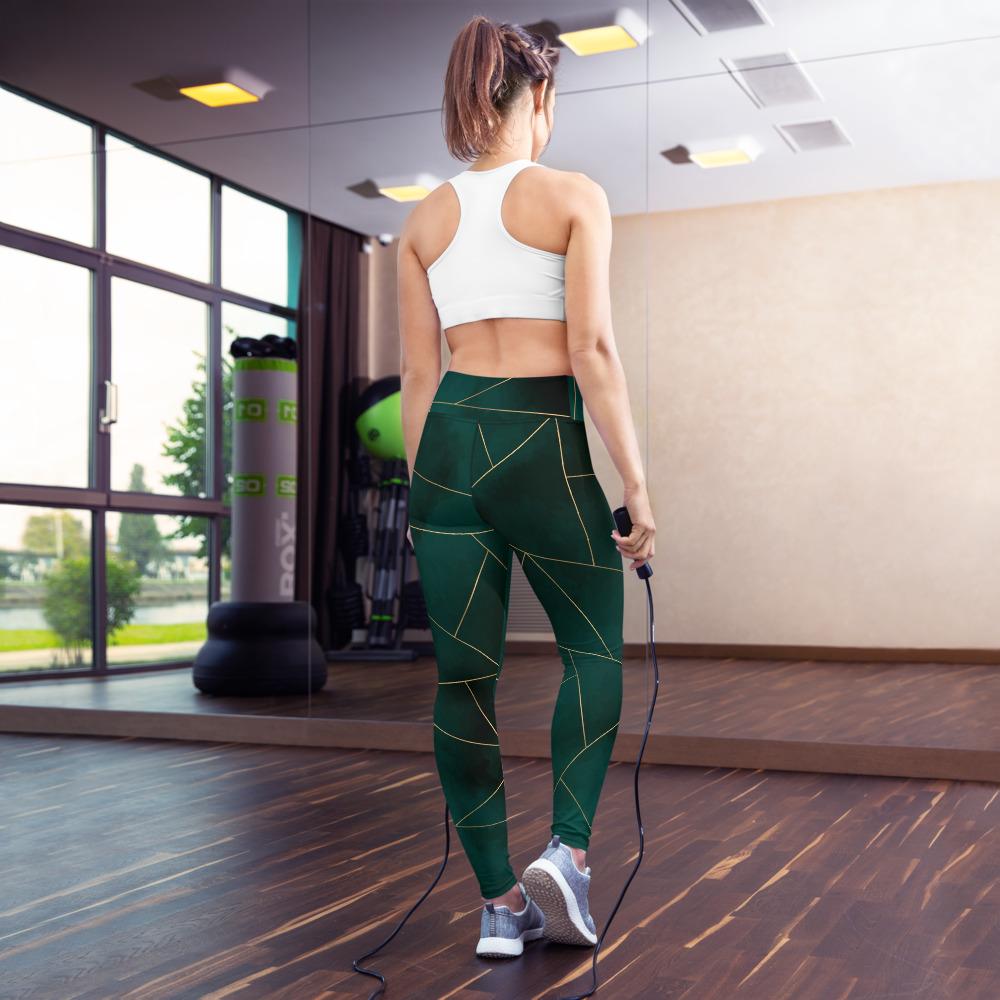 Green Mosaic Yoga Leggings Pants Active Wear Pilates