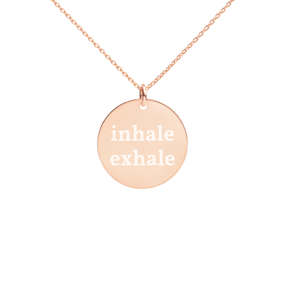 Inhale Exhale Silver Disc Chain Necklace 18k rose gold
