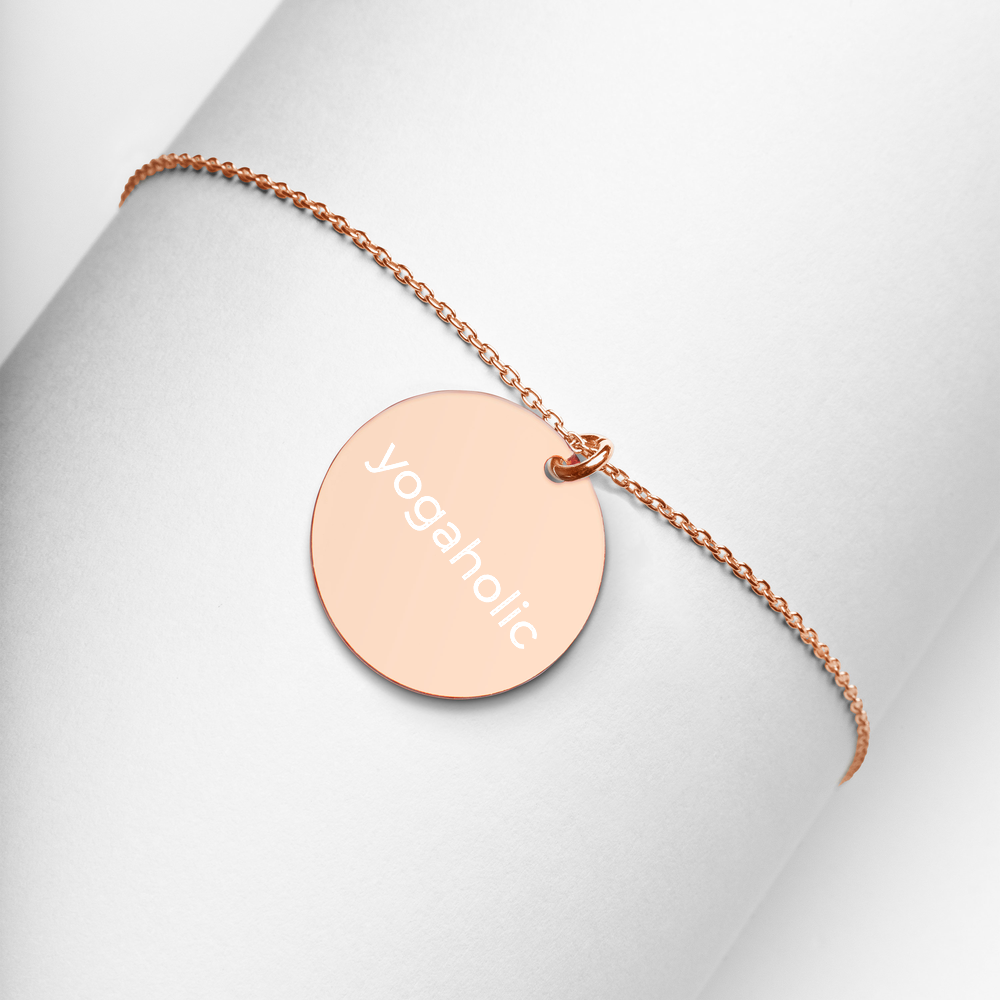 Yogaholic Silver Disc Chain Necklace 18k rose gold
