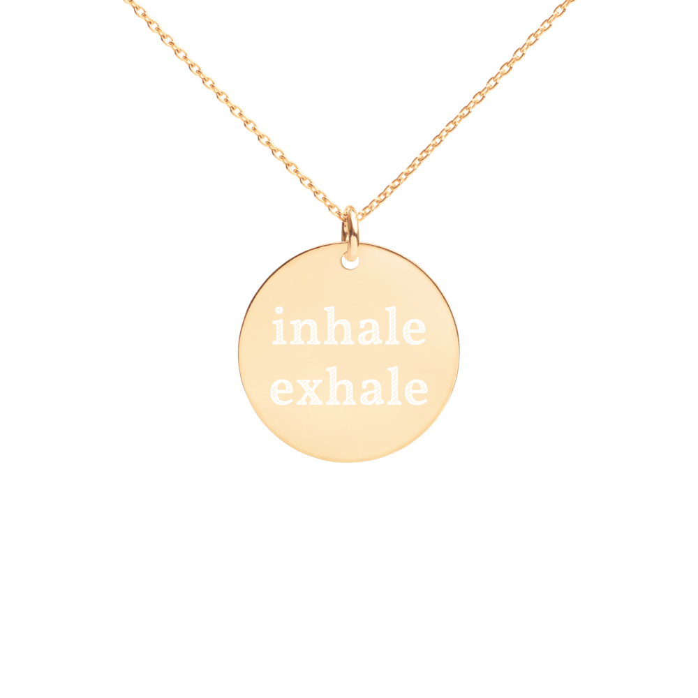 Inhale Exhale Silver Disc Chain Necklace 24k gold