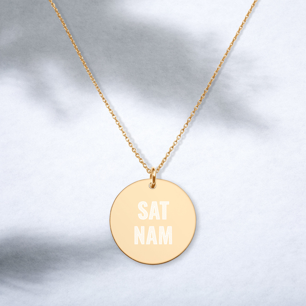 Sat Nam Silver Disc Chain Necklace 24k gold
