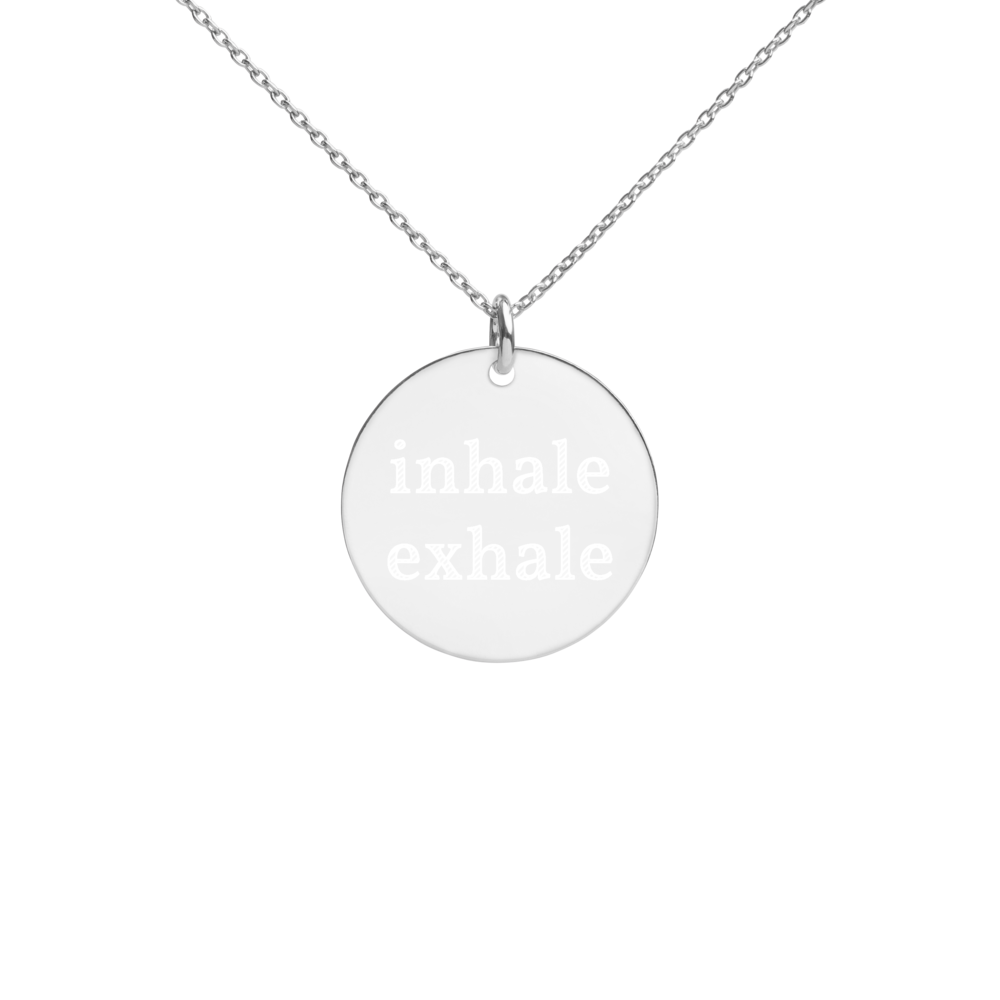 Inhale Exhale Silver Disc Chain Necklace