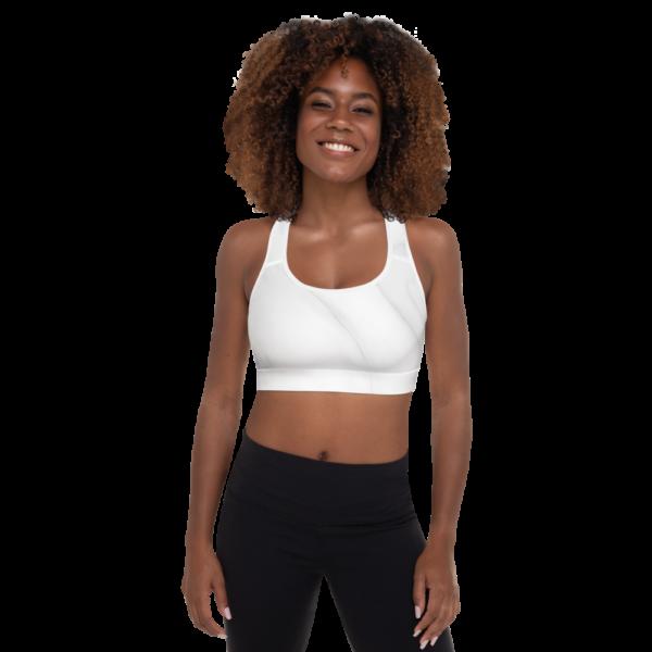 White Marble Sports Bra Active Wear Pilates