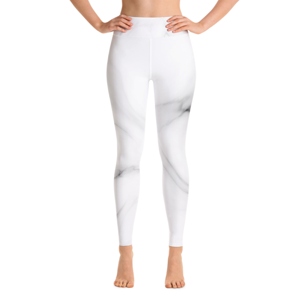 White Marble Yoga Leggings Pants Active Wear Pilates